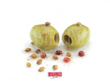 Olives Vertes Cumin et Poivre Rouge - Barquette de 1,9 kg